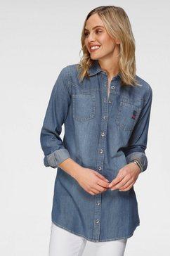 h.i.s jeansblouse lange blouse duurzame, waterbesparende productie door ozon wash blauw