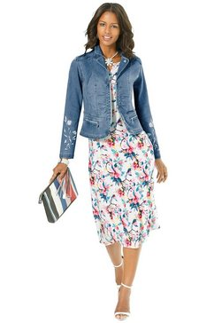 alessa w. jeansblazer met elegant bloemborduursel blauw