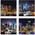artland artprint op linnen sydney haven en new york times square (4 stuks) blauw
