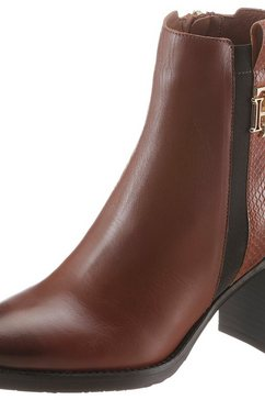 tommy hilfiger highheel-laarsjes »th interlock high heel boot« bruin
