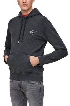 q-s designed by hoodie in vintage washed look zwart