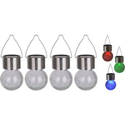 naeve led-tuinlamp »crackle ball«, zilver