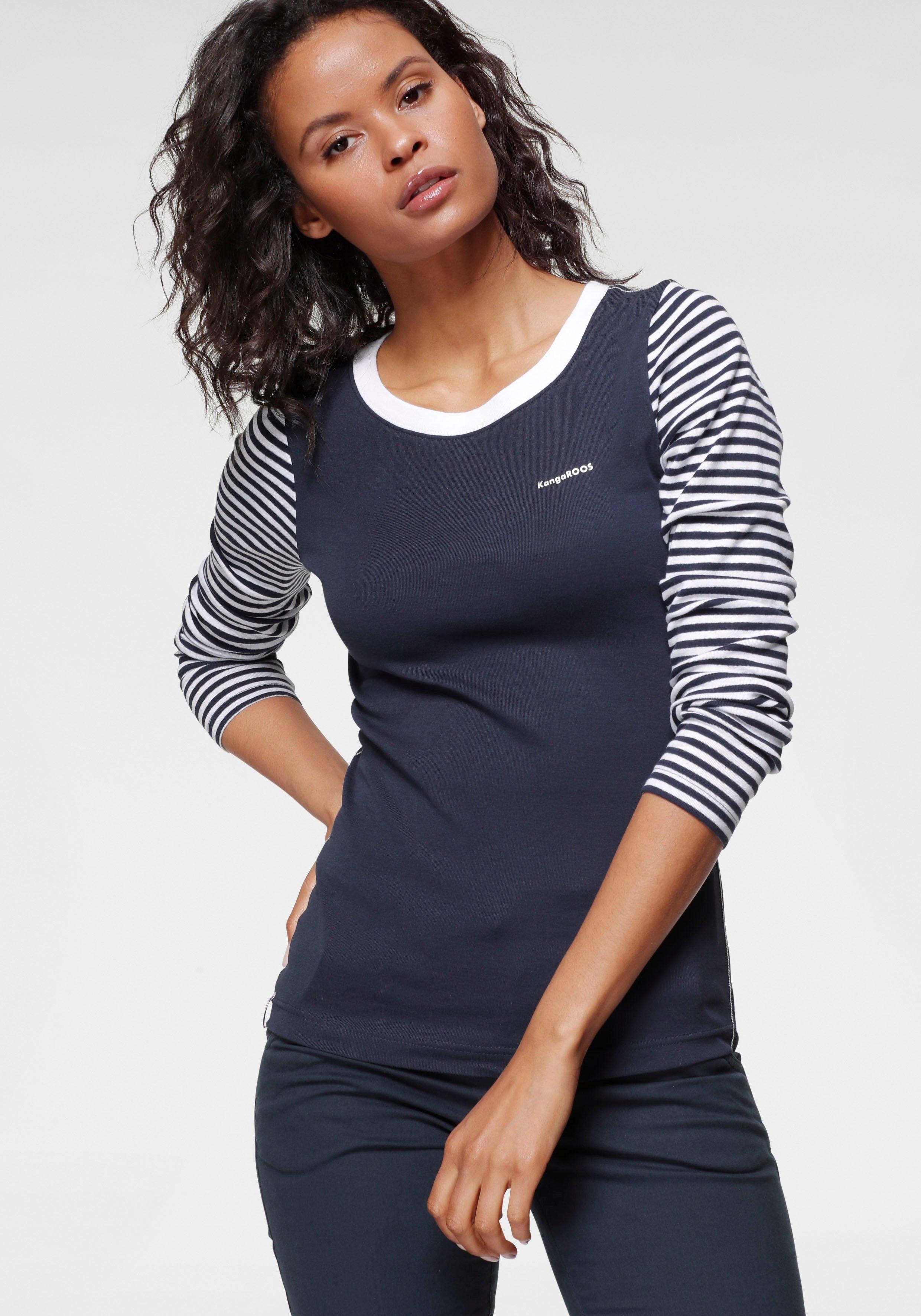 KangaROOS shirt met lange mouwen in modieuze uni-strepenmix - gratis ruilen op otto.nl
