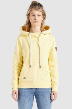 khujo sweatshirt fanci sportief sweatshirt met cross-over-kraag en capuchon geel