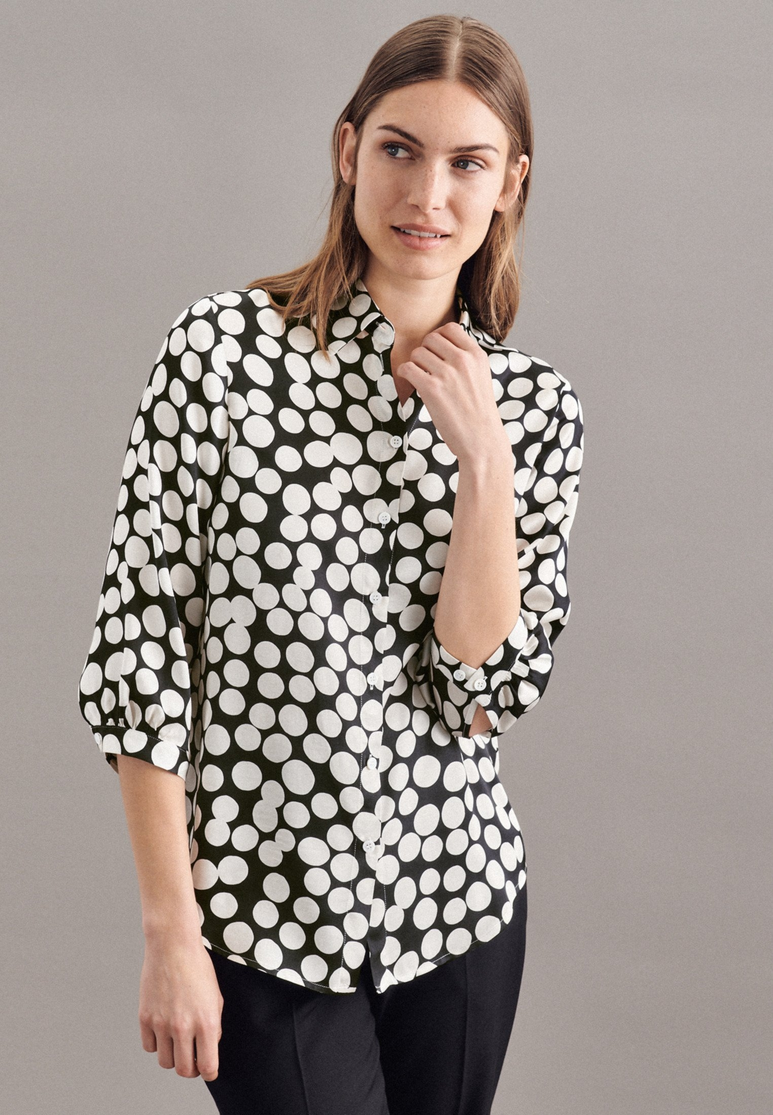 seidensticker Overhemdblouse Zwarte roos 3/4-mouwen kraag stippen bij OTTO online kopen