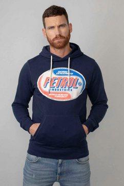 petrol industries hoodie met modieuze merkprint blauw