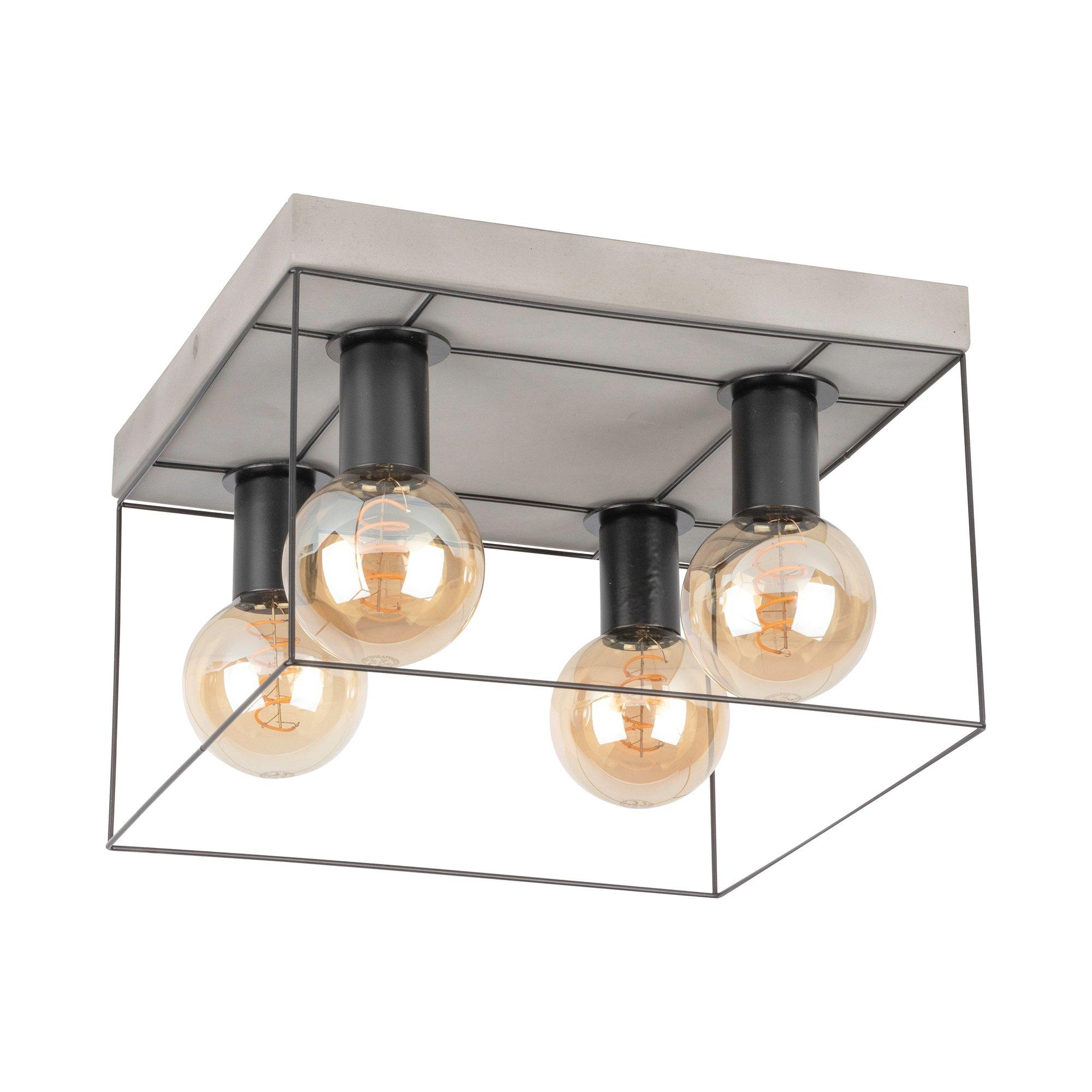 SPOT Light plafondlamp GRETTER CONCRETE Van echt beton en metaal, bijpassende LM E27 / exclusief, natuurproduct Made in Europe - verschillende betaalmethodes