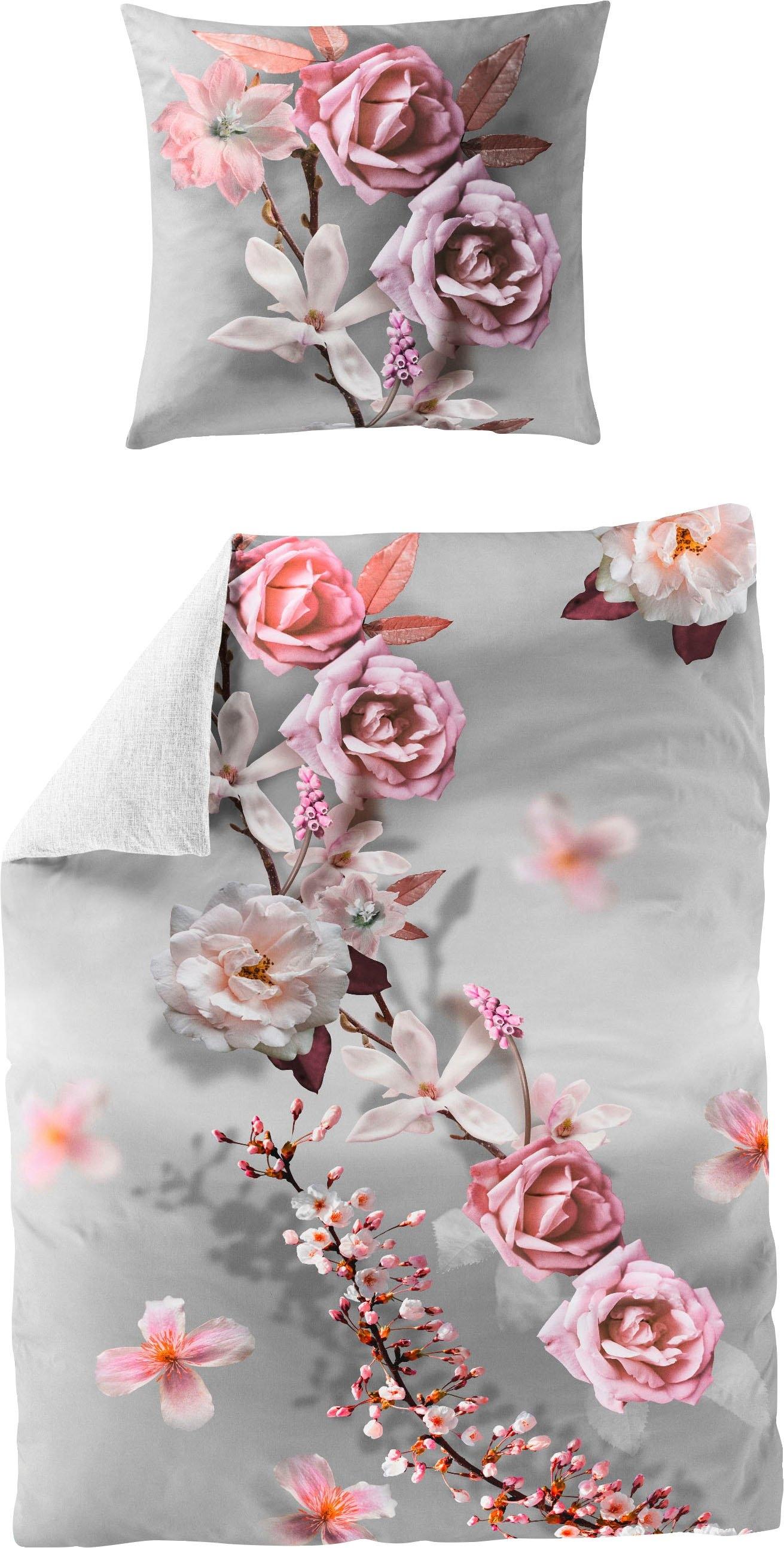 BIERBAUM tweezijdig te gebruiken overtrekset Pink rose met bloemenprint (2-delig) bestellen: 30 dagen bedenktijd