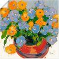 artland artprint bloemen in pot i in vele afmetingen  productsoorten - artprint van aluminium - artprint voor buiten, artprint op linnen, poster, muursticker - wandfolie ook geschikt voor de badkamer (1 stuk) oranje