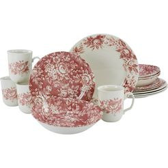 creatable combi-servies splendor traditioneel roosdecor (set, 16 delig) rood