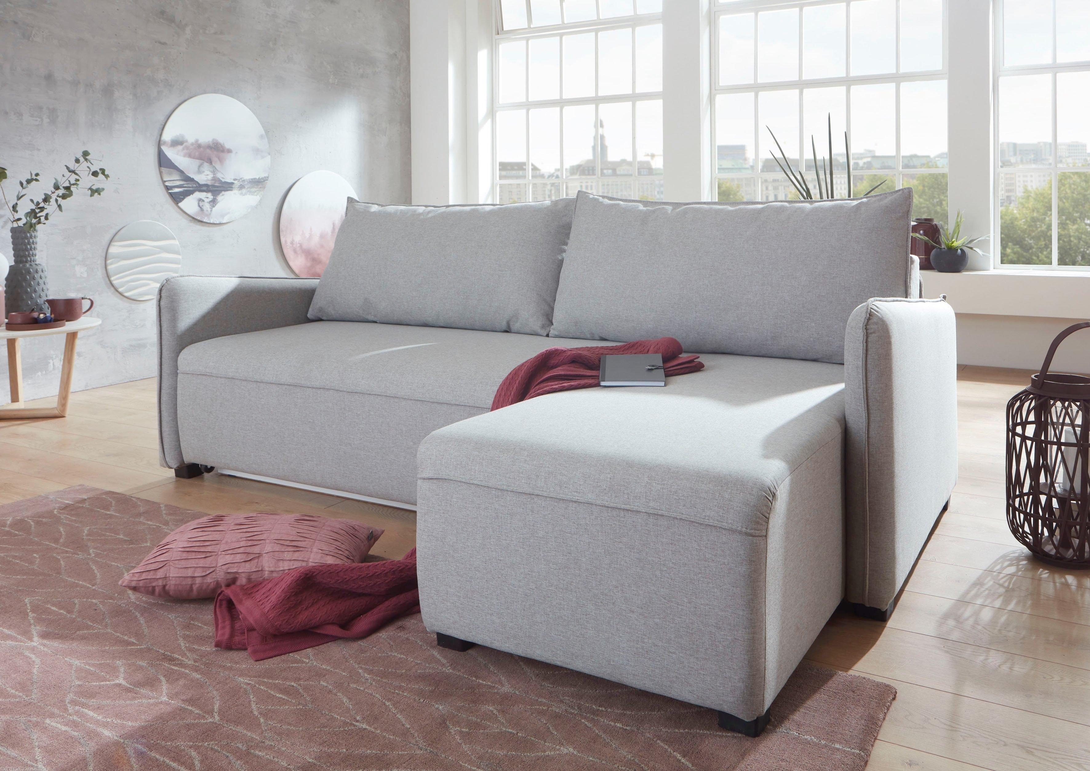ATLANTIC home collection hoekbank met binnenvering, slaapfunctie, bedkist en aan beide kanten monteerbare récamier online kopen op otto.nl