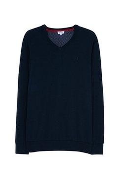 seidensticker trui met v-hals zwarte roos lange mouwen v-hals print blauw