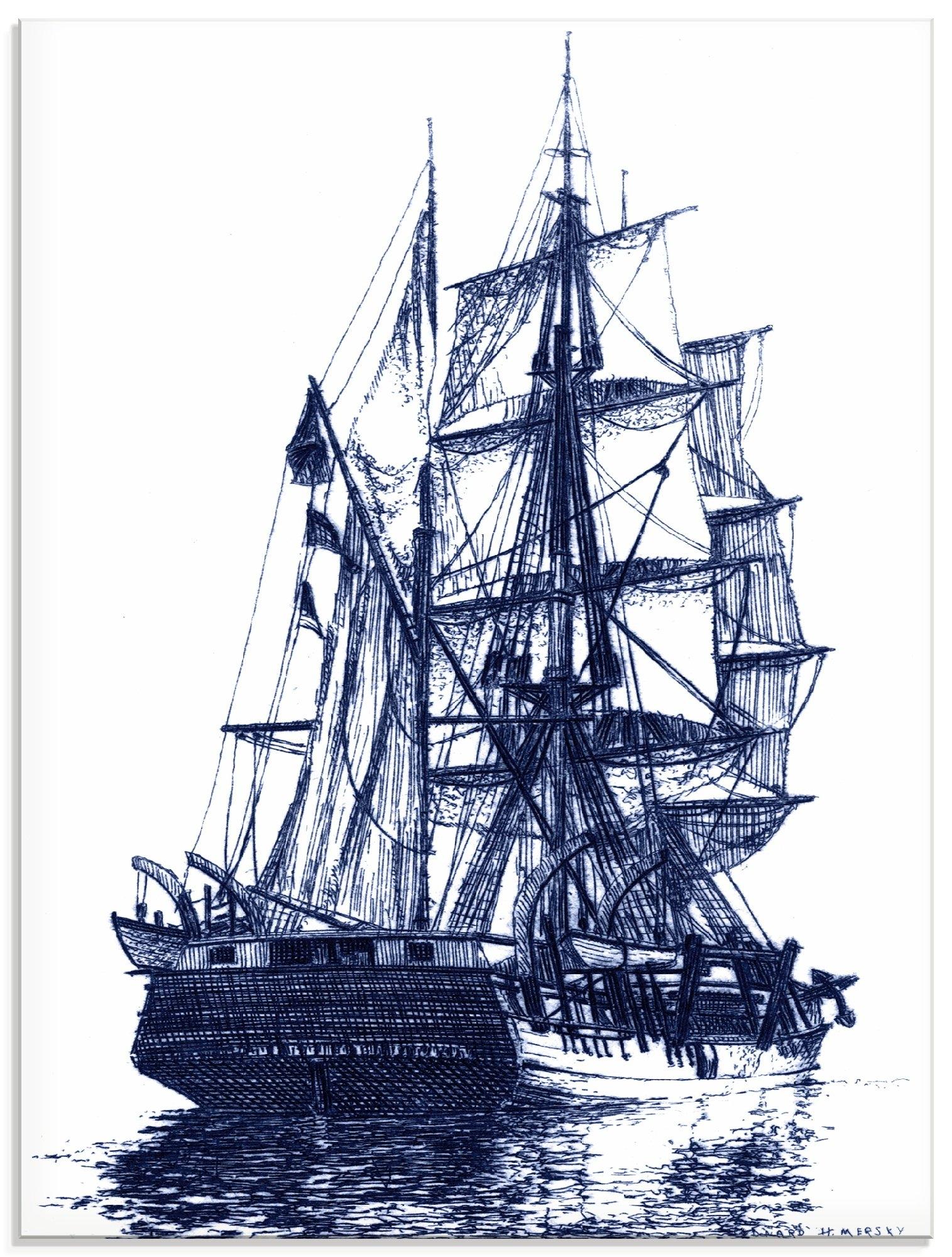 Artland print op glas Antieke boot in blauw I (1 stuk) voordelig en veilig online kopen