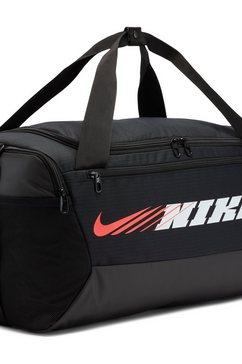 nike sporttas nike brasilia graphic training duffel bag (small) zwart