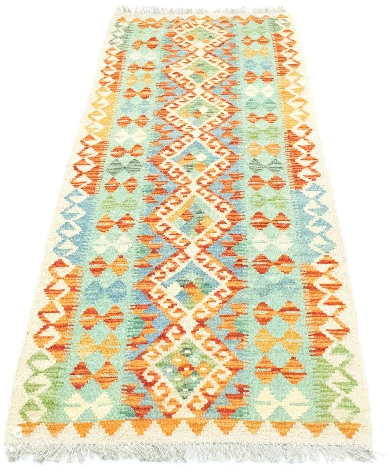 morgenland wollen kleed Kelim Afghan Teppich handgewebt grün Laagpolig in de webshop van OTTO kopen