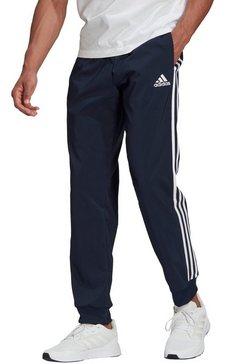 adidas performance trainingsbroek essentials tapered cuff 3 stripes pants blauw