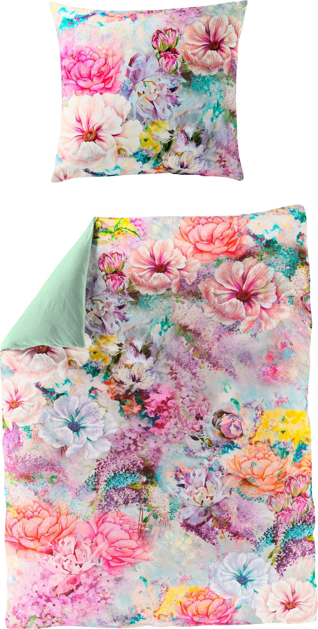 BIERBAUM tweezijdig te gebruiken overtrekset Colorful Flowers met gebloemde digitale print (2-delig) - gratis ruilen op otto.nl