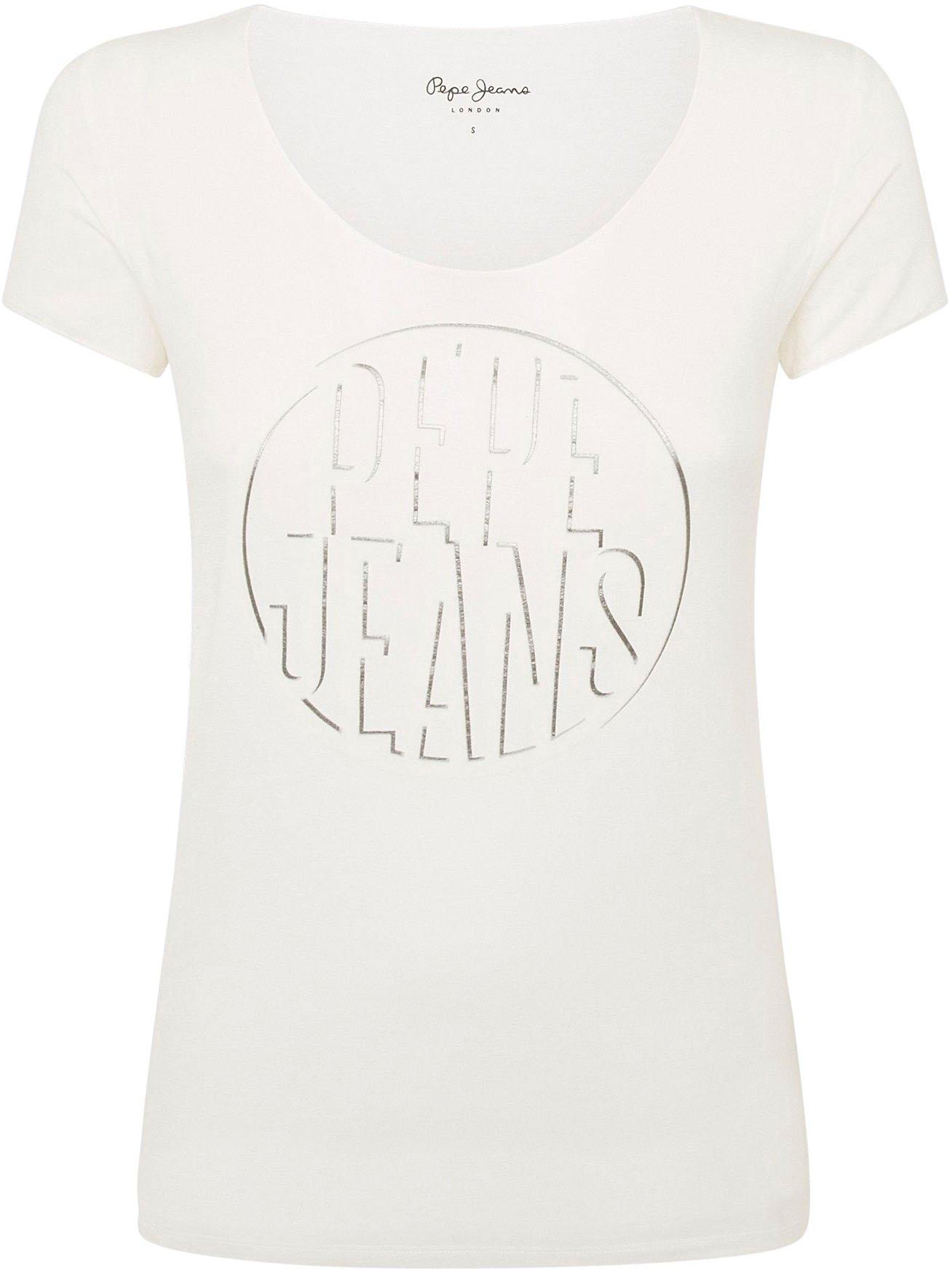 Pepe Jeans Shirt met korte mouwen Bella met grote ronde frontprint met logo in de webshop van OTTO kopen