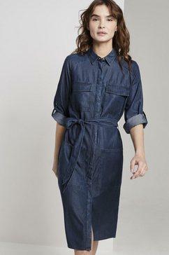 tom tailor jeansjurk »jeanskleid mit bindeguertel« blauw