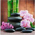 artland print op glas spa concept zen stenen orchideen (4 stuks) roze