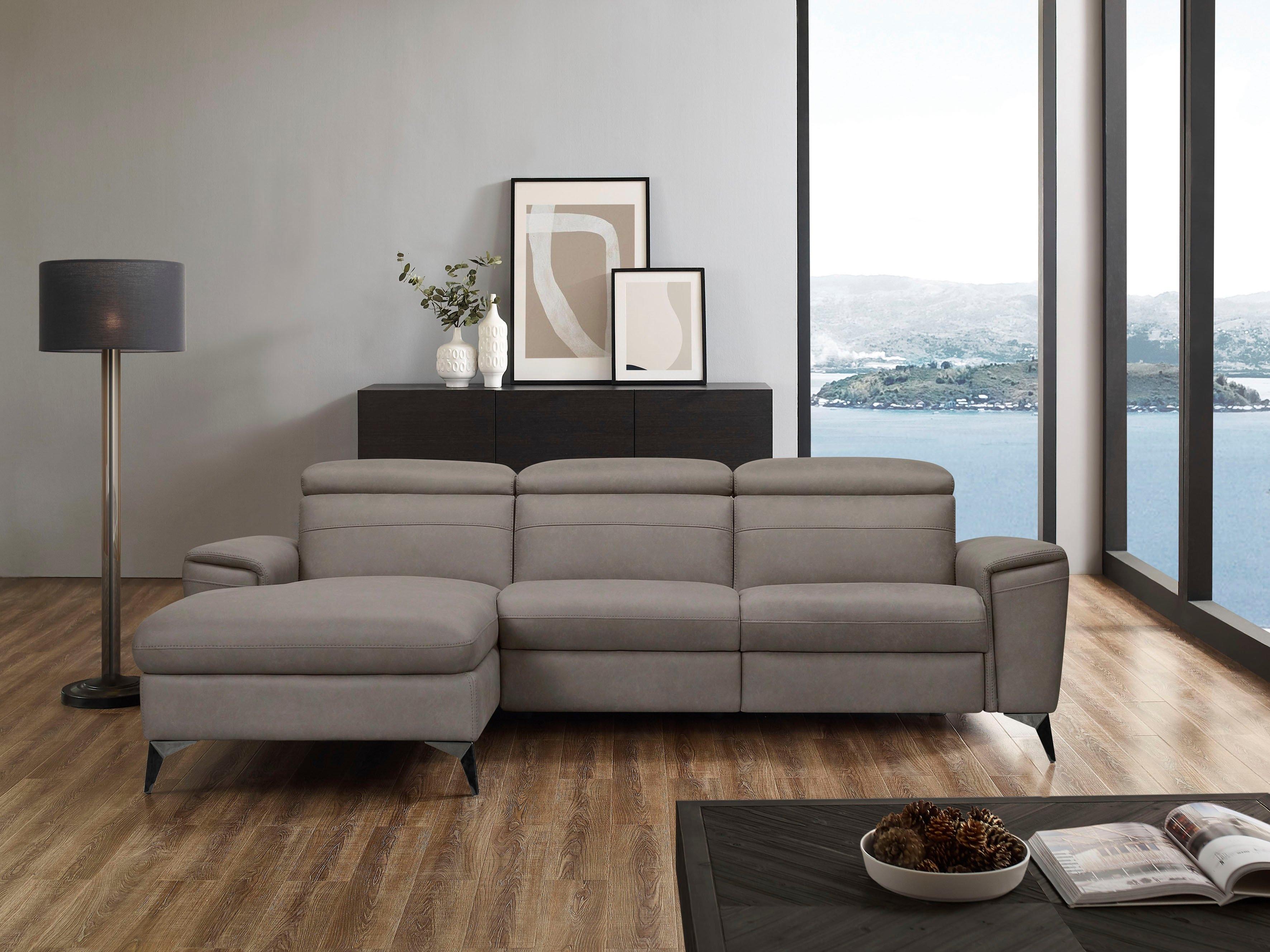 Places of Style hoekbank THERON elektrische relaxfunctie, usb-aansluiting, handmatig verstelbaar hoofdeind - verschillende betaalmethodes