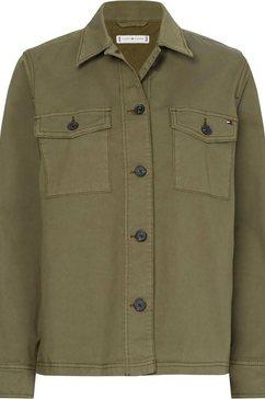 tommy hilfiger jasje cotton blend shacket groen