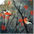 artland artprint rode vogels in de winter in vele afmetingen  productsoorten - artprint van aluminium - artprint voor buiten, artprint op linnen, poster, muursticker - wandfolie ook geschikt voor de badkamer (1 stuk) rood
