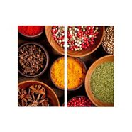 wall-art kookplaatdeksel keuken kookplaatafdekblad specerijen (set, 2-delig) multicolor