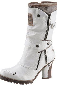 mustang shoes winterlaarzen met sierritssluiting aan de buitenkant wit