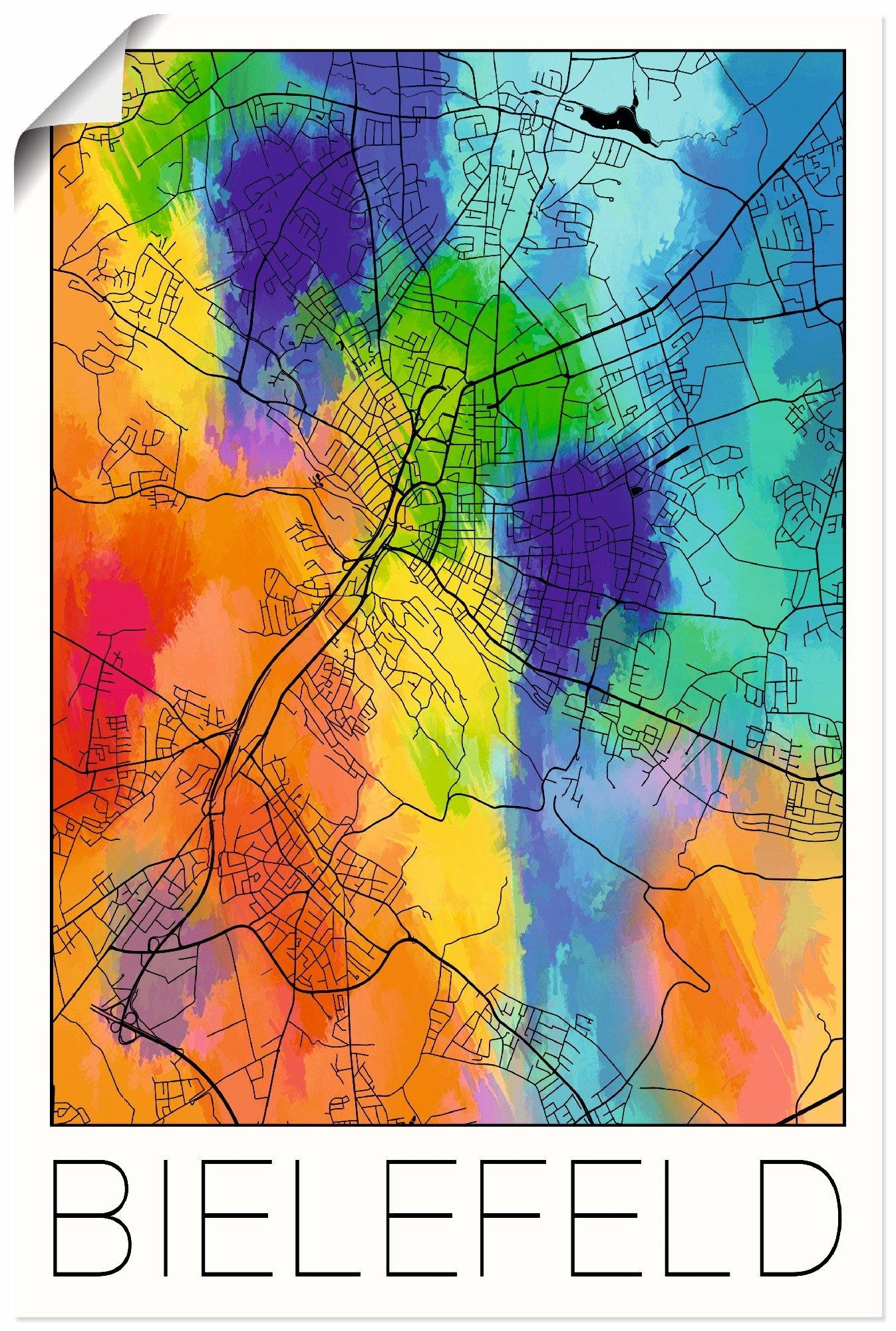 Artland artprint Retro kaart Bielefeld aquarel in vele afmetingen & productsoorten - artprint van aluminium / artprint voor buiten, artprint op linnen, poster, muursticker / wandfolie ook geschikt voor de badkamer (1 stuk) in de webshop van OTTO kopen