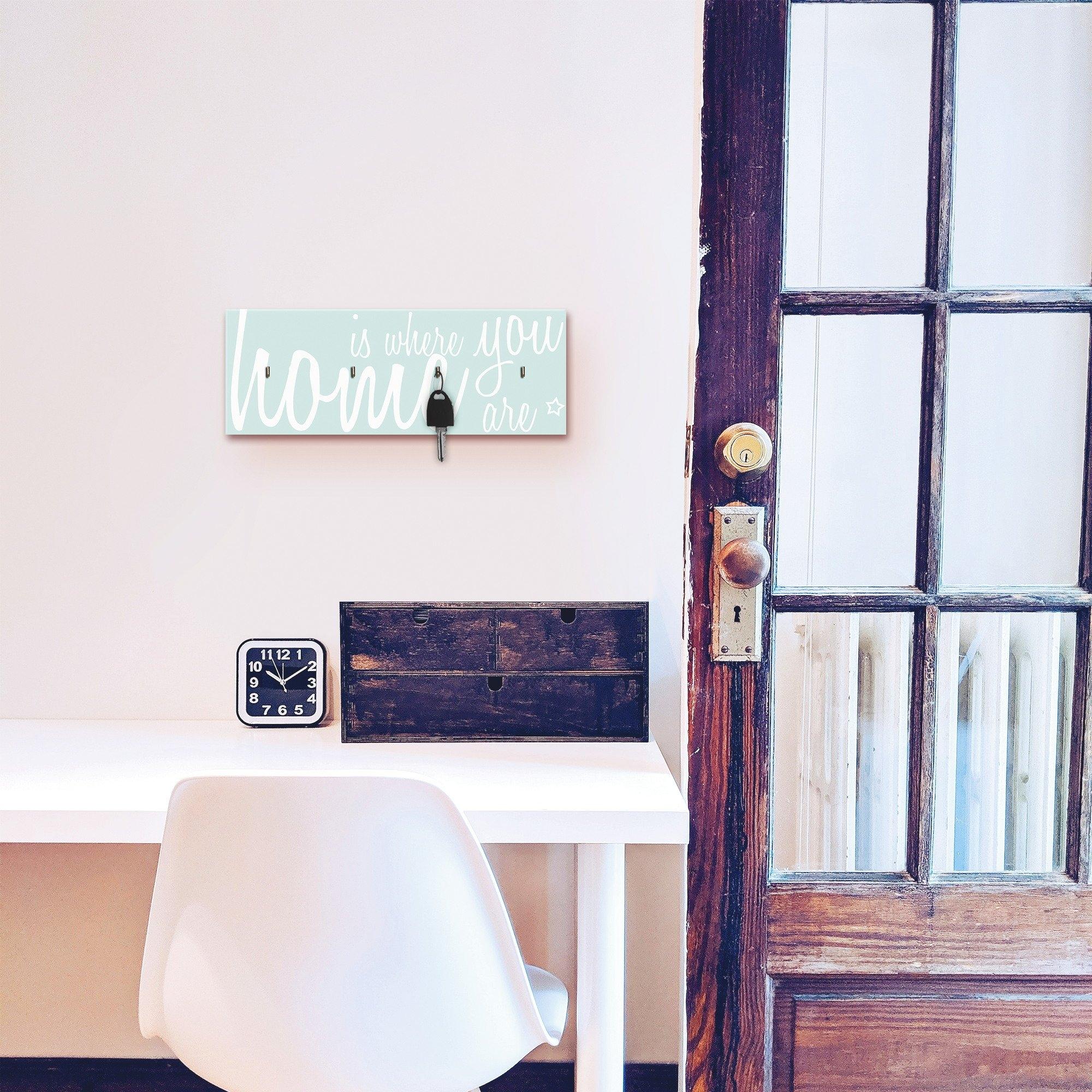 Artland Sleutelbord Thuis is, waar jij bent van hout met 4 sleutelhaakjes – sleutelbord, sleutelborden, sleutelhouder, sleutelhanger voor de hal – stijl: modern bestellen: 30 dagen bedenktijd