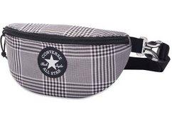 converse heuptasje sling pack, glen plaid-converse black met logopatch zwart
