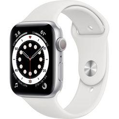 apple watch series 6 gps, aluminium kast met sportbandje 44 mm inclusief oplaadstation (magnetische oplaadkabel) wit