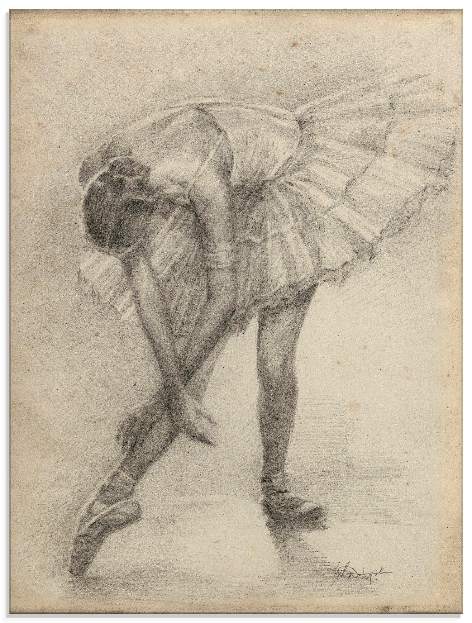 Artland print op glas Antieke ballerina's oefening II (1 stuk) goedkoop op otto.nl kopen