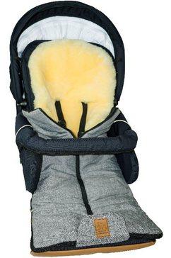 heitmann felle voetenzak ijsbeertje - multifunctionele winter-lamsvacht-voetenzak baby-voetenzak, met echte lamsvacht, warm en zacht, 5 gordelsleuven grijs