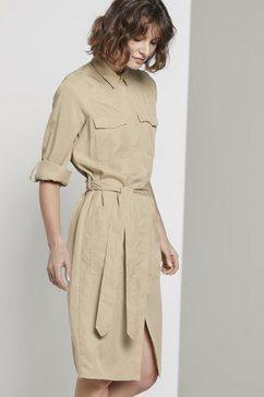 tom tailor zomerjurk jurk met bindceintuur beige