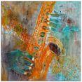 artland print op glas een saxofoon (1 stuk) blauw