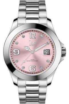 ice-watch kwartshorloge »ice steel classic - light pink silver - stones - medium - 3h, 16776« zilver