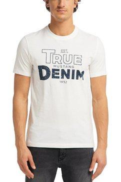 mustang shirt met korte mouwen »alex c print« wit