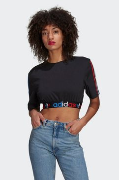 adidas originals crop-top adicolor primeblue tricolor cropped zwart