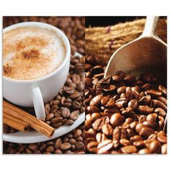 artland keukenwand kaffee - cappuccino - heisser kaffee (1-delig) bruin