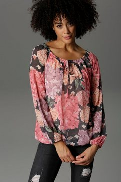 aniston casual blouse met carmenhals zwart