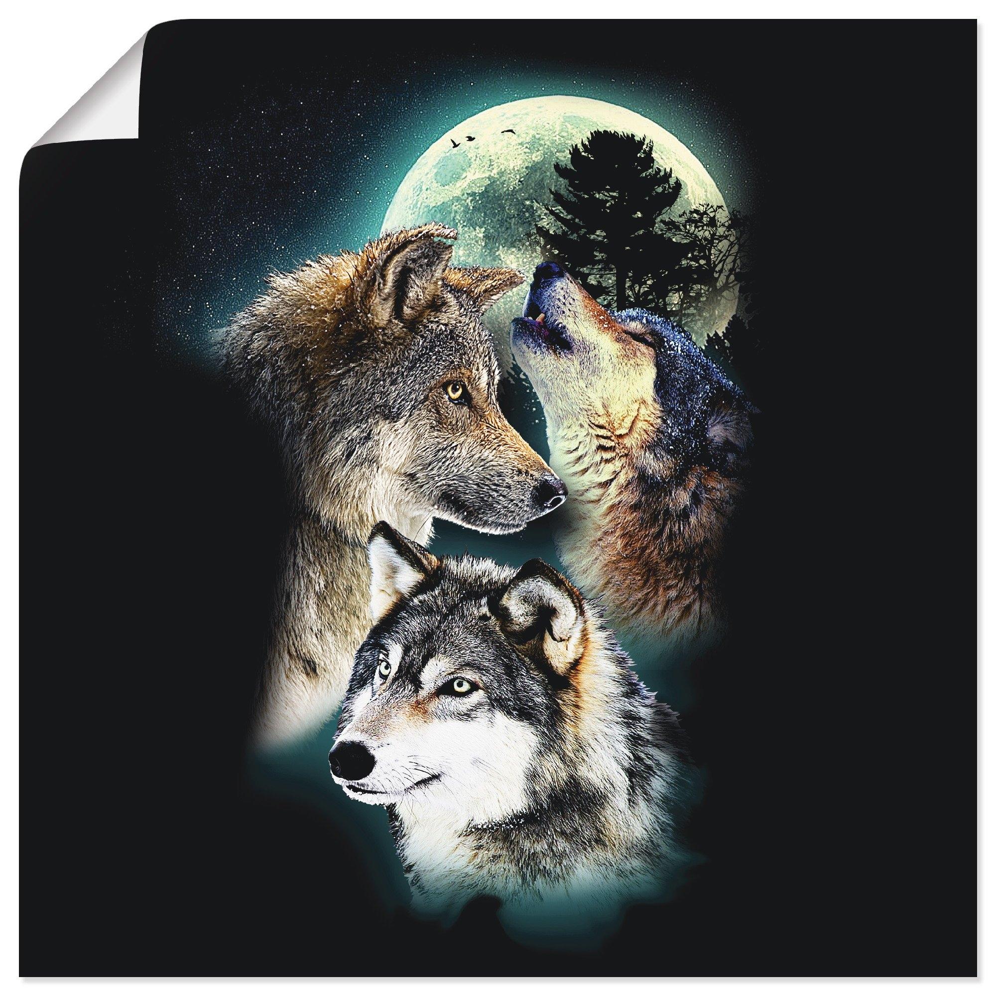 Artland artprint Fantasie wolf wolven met maan in vele afmetingen & productsoorten - artprint van aluminium / artprint voor buiten, artprint op linnen, poster, muursticker / wandfolie ook geschikt voor de badkamer (1 stuk) nu online kopen bij OTTO
