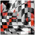 artland print op glas zwart-wit raakt rood versie 1 (1 stuk) zwart