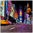 artland print op glas new york nachtleven (1 stuk) paars