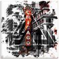artland print op glas chicago ii (1 stuk) zwart