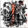 artland print op glas »chicago ii« zwart