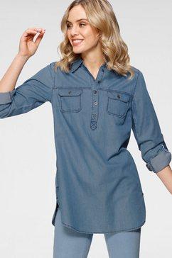 arizona jeansblouse omslagmouwen met trensje in tuniekstijl blauw