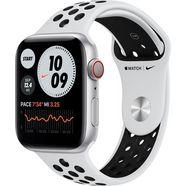 apple watch nike series 6 gps + cellular, aluminium kast met nike sportbandje 44 mm inclusief oplaadstation (magnetische oplaadkabel) zilver