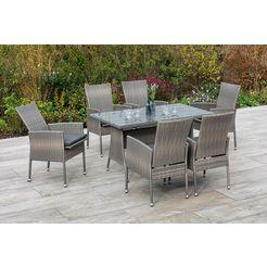 merxx tuinmeubelset sevilla 6 fauteuils met zitkussen, tafel, steenbeige (7 delig) bruin